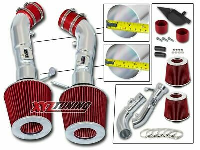 """3.5"""" RED Heat Shield Cold Air Intake + Filter For 09-16 370Z/08-13 G37 3.7L V6"""