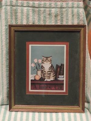 """A Tabby Cat"" Framed Print Gray Grey Picture Wall Hanging Wood Frame"