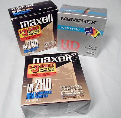 """Lot of 3 Boxes of 3.5"""" Floppy Discs Vintage Computer 30 Total Discs New & Used"""