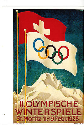 """Suisse Illustrated 4"""" X 6"""" Postcard Olympic Olympische Winterspiele : St Moritz"""