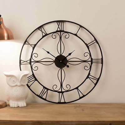 Large Wall Clock 60cm ORNATE Metal Industrial Iron Vintage French Provincial NEW