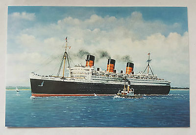 Rms Queen Mary Cunard White Star Ocean Liner Postcard Of Painting By J.k. Byass