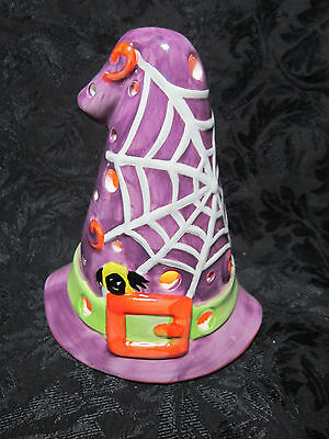 Halloween Ceramic Candle Holder Votive Holder Witches Witch Hat Spider Web