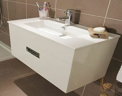 Modern 800mm Bathroom Wall Hung Drawer Vanity Unit & Ceramic Basin Sink Cabinet