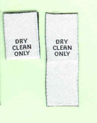 25 Dry Clean Only Woven Labels - Black on White