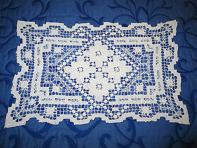 Lovely 13 Antique Complex Knotted Darn Net Lace Placemats