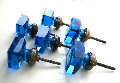 ANTIQUE RARE Architectural Salvage Dresser Pulls SAPPHIRE BLUE CRYSTAL  L@@K NR!