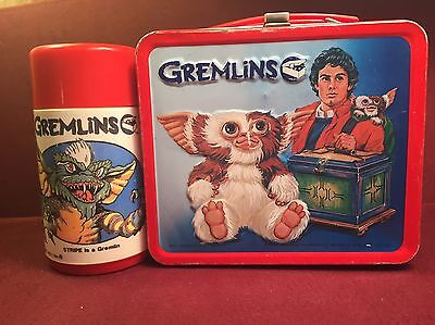 Vintage 1984 Aladdin Gremlins Metal Lunch Box & Thermos Bottle