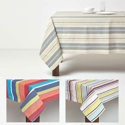 Homescapes Cotton Striped Tablelcloth Cover Black White Green Red Pink Grey