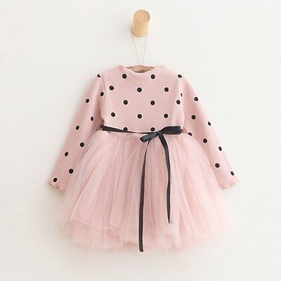 Kids Baby Girls Long Sleeve Princess Dress Party Wedding Pageant Tutu Dresses