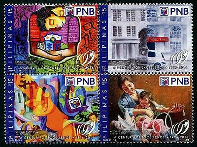 Philippines 2016 National Bank Centennial Block of 4 Different PH71 MNH**