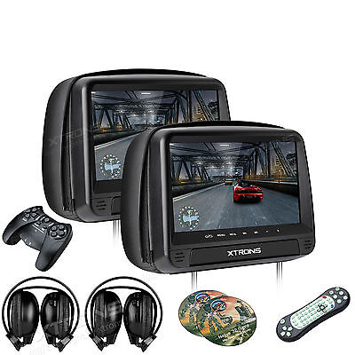 "Dual 9"" Black Car Headrest Monitors w/DVD Player/USB/HDMI+Games IR Headphones"