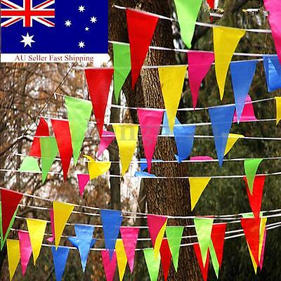 AU 80M-320M Colorful Bunting Triangle Flags Wedding Party Outdoor Banner Decor