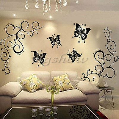 Butterfly Vine DIY Removable Vinyl Decal Art Mural Wall Stickers Room Decor UK