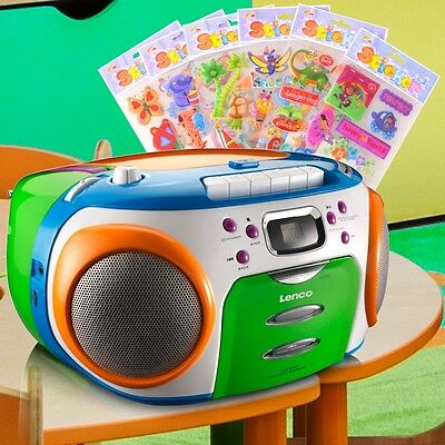 CD Radio Kinder Stereo Anlage Boombox bunt Puffy Sticker Kassetten MP3 CD Player