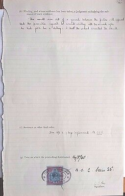 Nyasaland 1940 Riding Bicycle Without Light Fine Document With 2/6 Key Type