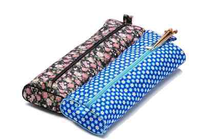 Knitting Needle Storage Bag Case Pink or Blue Floral Design Fabric