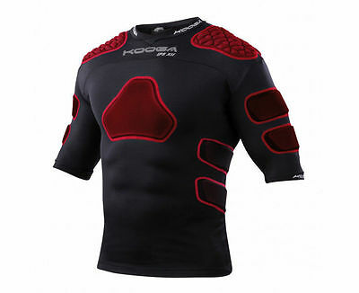 Kooga New IPS XII Rugby Body Armour Shoulder Pad Black Red Size Large Boys - XXL