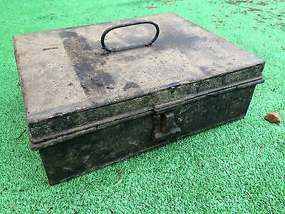 Small Vintage Tin Deed Writing Kitchen Chest Box with Lid