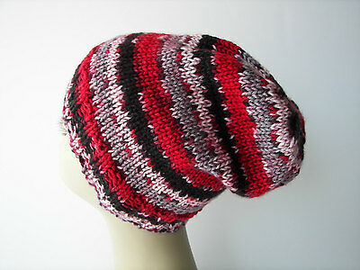 Varigated RED Hand Knit Beanie in Soft 100% Anti Pill Acrylic