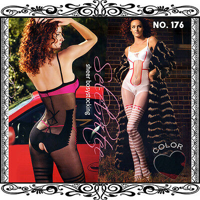 Spaghetti Strap Sheer Bodystockings with Red Bow and Stripes Print Nylon Spandex