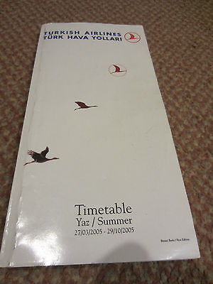Turkish Airlines Worldwide Timetable Book 27 March to 29 October 2005 Summer Yaz