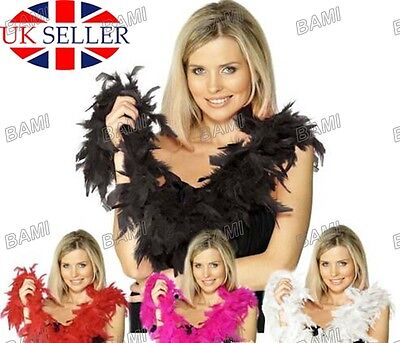 Hen Night Party Feather Boa Accessory Gatsby 20S Fancy Dress Fluffy Burlesque Uk