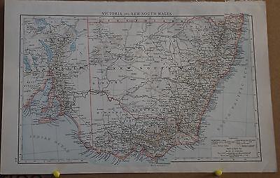 Antique Map Victoria & New South Wales from John Bartholomew's Royal Atlas 1898