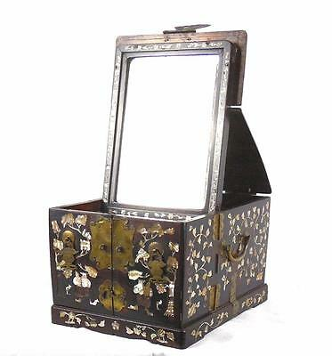 19th C Qing Dynasty Rosewood Mother of Pearl Travelling Dressing Table Box