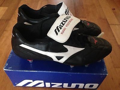 Retro Mizuno Dragon Rugby Boots Low Soft Toe Black/White Size Uk 9 New  Leather