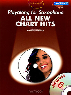 All New Chart Hits Playalong for Alto Sax Saxophone Sheet Music Book with CD