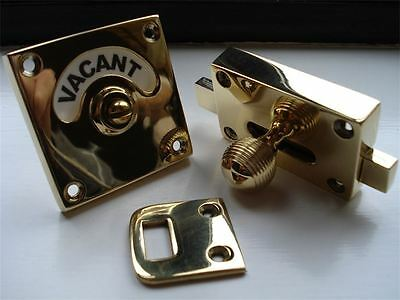 "Brass "" Beehive "" Vacant Engaged Toilet Bathroom Lock Bolt Indicator Door Knobs"