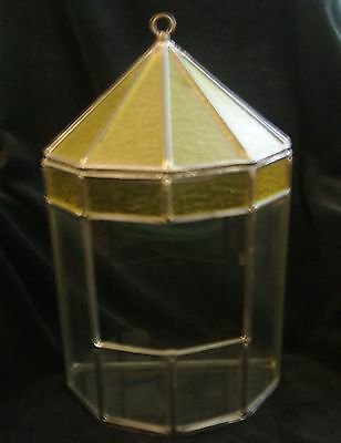 Vintage Large Hand Made Stained Gold and Clear Glass Terrarium