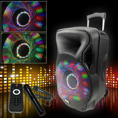 700W Mobile LED Soundanlage Karaoke Bluetooth USB SD MP3 Trolley Funkmikrofon