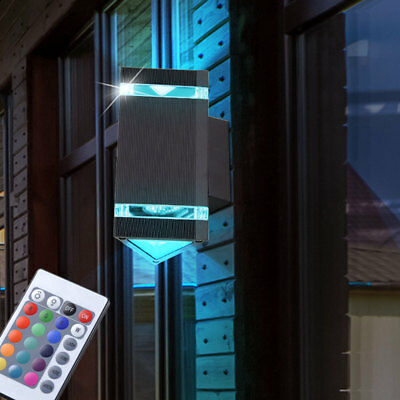 rgb led au en wand leuchte farbwechsel up down strahler grundst ck dimmer lampe eur 39 90. Black Bedroom Furniture Sets. Home Design Ideas