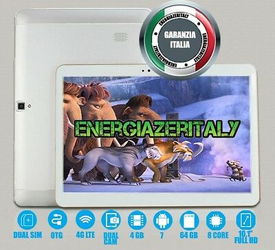 Tablet 10 Pollici 4G Lte Octa Core 4Gb Ram 64Gb Rom Android 6 Dual Sim Gps Wifi