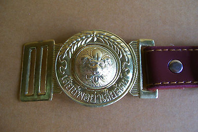 Boy Scout Leather Belt Brass Buckle Tiger Cowboy Vintage Awesome Cool
