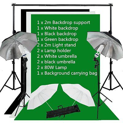 NEW Photo Studio Background Support Lighting Kit3 Backdrops Umbrella continuous
