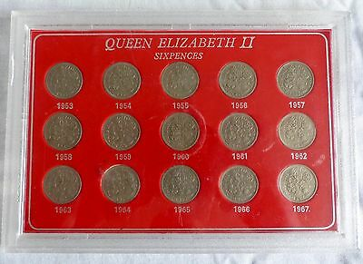QUEEN ELIZABETH SIXPENCE FULL SET, 1953-1967  15 coins