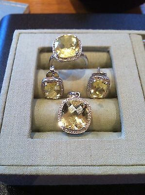 9ct White Gold Diamond and Citrine Ring, Earrings and Pendant Set