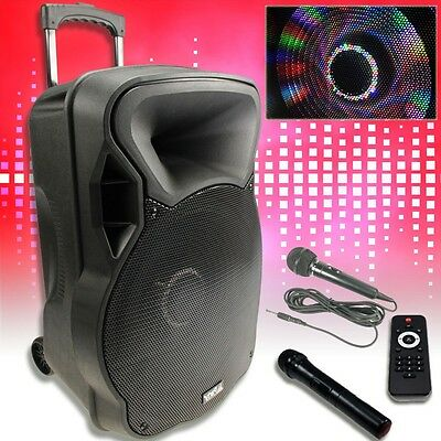800W Mobile LED Party Soundanlage Karaoke Bluetooth USB SD Trolley Funkmikro MP3