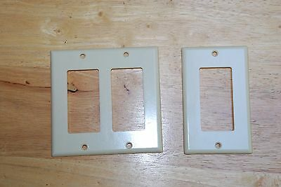 Lot of 2 Leviton Wall Plate Covers/ Double Block & Single Block/ Pre-owned/ USA