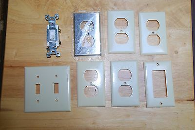 Lot of Vintage Eagle Electrical/ 7 Wall Plate Covers & 1 Switch/ USA