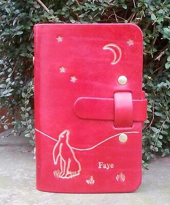 Handmade Leather Personal Size Organiser, Moon Gazing Hare. Red