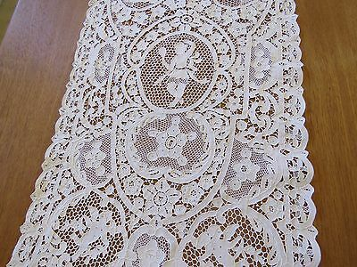 Antique Lace Runner White Point De Venise Cotton Needlelace Lady Table Scarf Mat