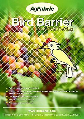 Agfabric Plant Protect Netting, 7'-W x 20'-L Bird Barrier, White