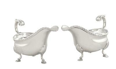 PAIR OF ANTIQUE STERLING SILVER GRAVY BOATS / SAUCE JUGS 1900 - 630g