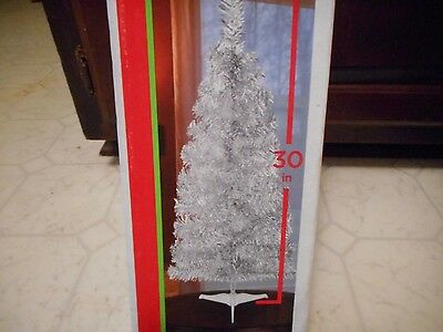 "30""  Silver Christmas Tree W/ Base Tinsel Tabletop New"