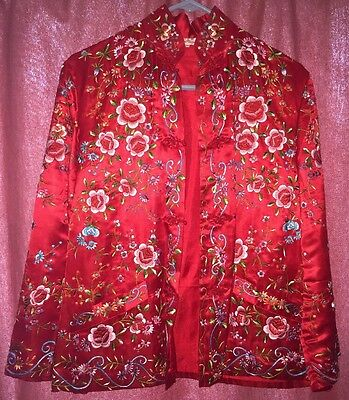 Vintage Chinese Silk Satin Plum Blossom Embroidered Jacket Floral Size 38 50-60s