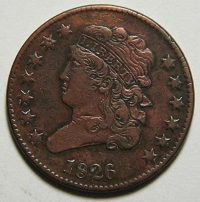1826 Classic Bust Half Cent 1/2 Coin Lot # MZ 3453